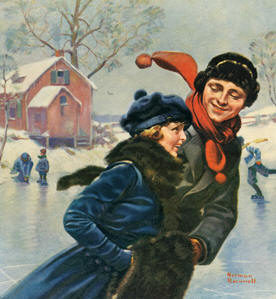 Norman Rockwell: Ice Skaters